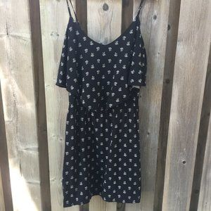 NWT black floral mini dress - size S